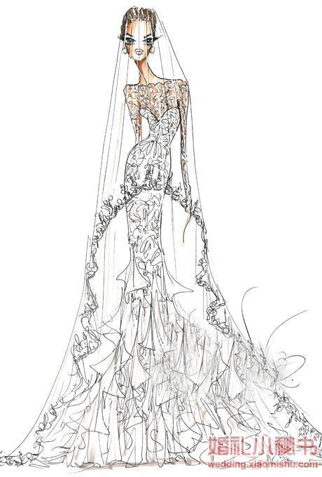 9位婚纱设计师为安吉丽娜·朱莉 (angelina jolie) 绘制的婚纱手稿